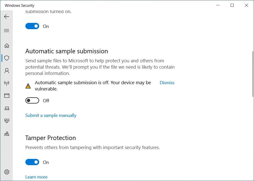 How to prevent Windows 10 Defender from uploading files to Microsoft 3