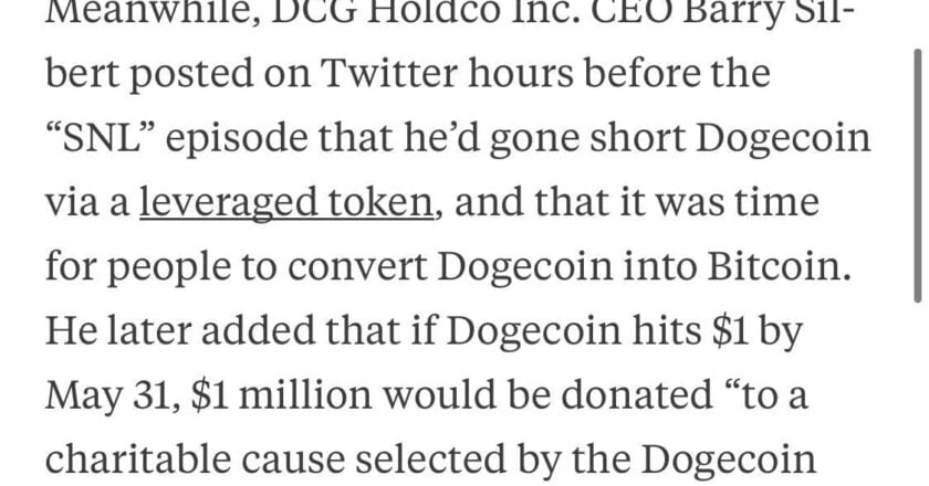 """""""if Dogecoin hits $1 by May 31, $1 million would be donated """"to a charitable cause selected by the Dogecoin community."""""""
